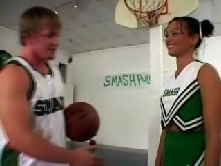 Terri Summers as a cheerleader takes on the basketball team.