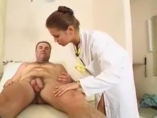 Elena checks how hard her patie ... free