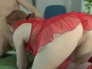 REDHEAD RITA GETS HER ASS CREAM PIE