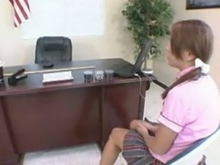 redhead schoolgirl takes panties down for a nice hard spanking