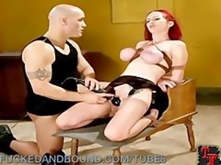 Babe in Cherry Red Fucked and Bound