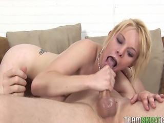 ThisGirlSucks Blonde babe Missy Mathers deepthroat blowjob handjob