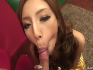 Skinny Japanese doll Hatano Yui down on her knees as she tease her man that...