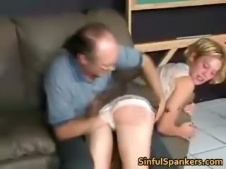 Sexy blonde skank gets bent over knees part6