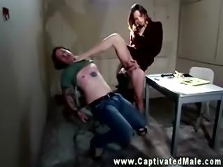 Dominatrix mastering her submissive