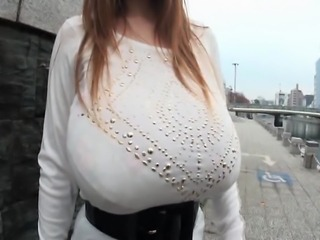 Amateur asian with giant tits walking in clothed public while her boobs slide...