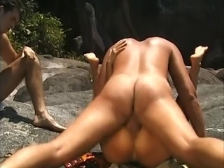 Husband beats of wile watchingwife get fucked on the beach!