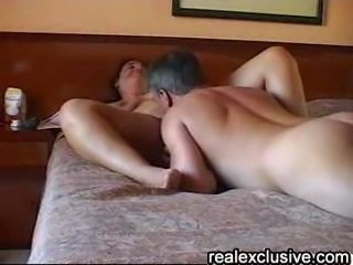 Me on top licking my wife's shaved pussy, my wife sucking my cock. Our trip...