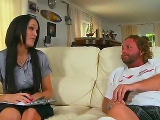 Sexy Milf babe is being seduced by a young guy who was just delivering a...
