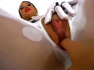 Horny brunette Clar lets her shaved cunt deep fucked by Omar Galantis hard cock