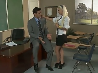 Young teacher - sexy blonde Alektra Blue and her boss Stevie Shae know how to...