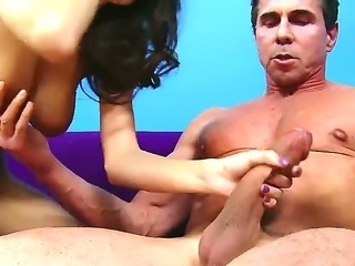 Skinny April Oneil being fisted by Peter North on her elastic wet pussy.