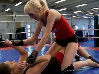 Wild and excited lesbians Alexa Wild and Ashley are fighting to dominate