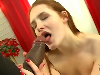 Young redheaded babe Denisa Heaven is being payed for a good fuck with a...