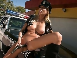 Arousing blonde in uniform loves masturbating in nasty fetish solo scene