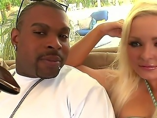 Wonderful babe Jenna Lovely pleases two black males and makes them tremble of...
