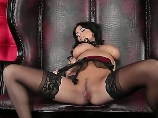 Anissa Kate Milf brunette chick nastily spitting on her boobies and rubbing...