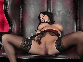 Anissa Kate Milf brunette chick nastily spitting on her boobies and rubbing...