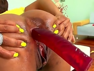 Black Imani Rose wants to stretch out her ass hole with her anal toy. The...