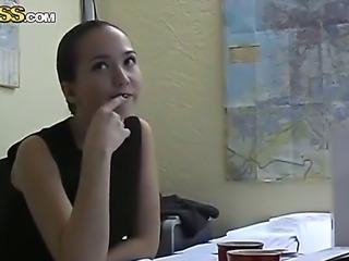 Hot brunette office lady Natasha with
