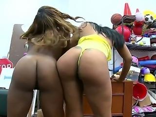 Two amazing ebony pornstars Carmela Mulatto and Tori Taylor with a beautiful...