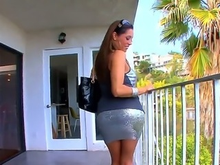Lonely MILF Francesca Le is watching from the balcony and she is fucking...