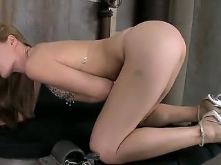 Wonderful hottie Sophie Moone loves masturbating her shaved cunt in nasty solo