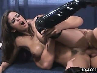 Brunette with big tits gets hard anal fuck