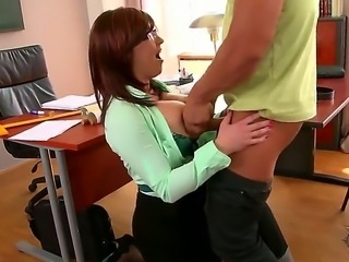 Sandra Boobies is a very horny and cute teacher who wears black stockings and...