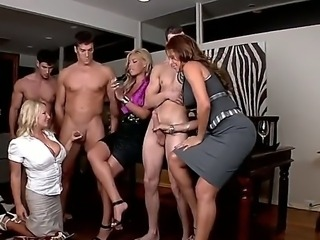 Sweet sexy bondies sucking and massaging huge dicks.