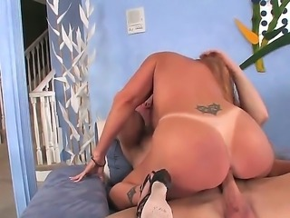 Mature big ass lady Darla Crane rides a large stiff cock wonderfully after a...