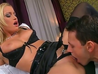 Blonde hottie gets her delicious pink pussy licked and fucked hard before a...
