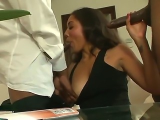Naughty brunette chick Leah Luxxx was getting fucked hard by Mr. Marcus and...