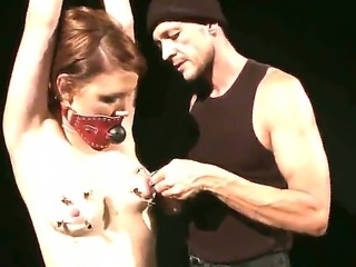 Master is punishing bounded Hellena with painful nipple clamps for being such...