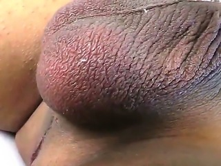horny black shemale enjoys masturbating in naughty porn solo session