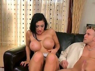 Hardcore threesome action with a naughty brunette named Aletta Ocean