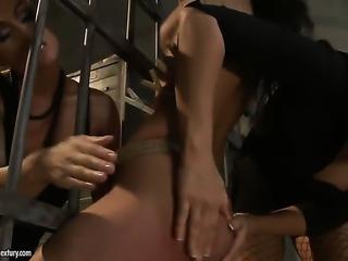 Brunette Maria Bellucci with big jugs enjoys Betty Stylles fingers deep...