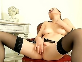 Young cute glamorous brunette Tina Kay with perfectly shaped natural medium...