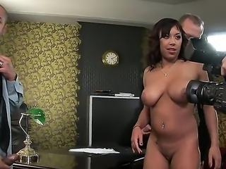 Appealing and alluring bitch Shanis is doing a film shoot with two handsome...