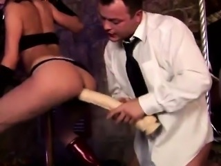 Busyness man fucks hot pole dancer with a huge plastic cock
