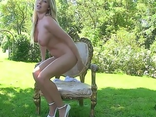 Cute blonde babe Lexi Lowe makes herself comfortable in the garden, gets...