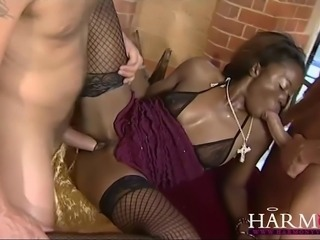 Horny black slut loves getting her black ass fucked hard by two horny white...