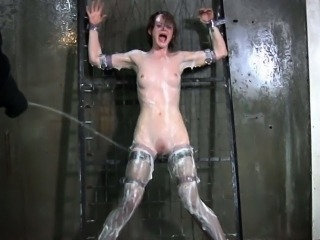 Tied down sub in stockings water play