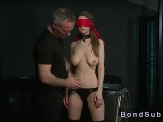 Big boobs brunette slave bent over and bound gets her beautiful ass spanked...