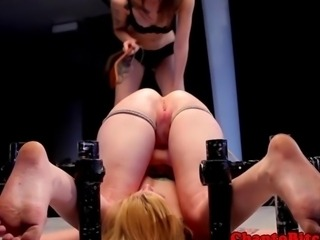 Lezdom bdsm dom plays with subs pussy