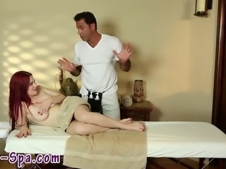 Naive redhead babe gets massage from dirty masseur dude