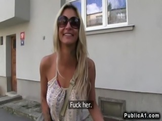 Busty blonde bent over fucked outdoor in public free