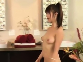 Asian fetish masseuse washes client cock