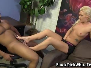 White slut gives black stud an oiled footjob and takes cumshot