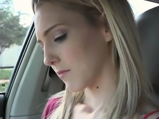 A nice and big facial for blonde Mila Evans in the car